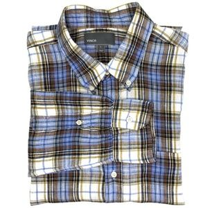 Vince. Plaid Linen Button Down Shirt